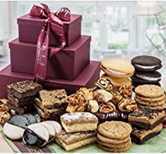 Dulcet Gift Baskets Grand Gourmet Gift Tower -Unique Food Gift Basket-Holiday Gifts for Clients-Includes: Walnut Brownies, Chocolate Chip Blondies, Black and White Cookies, Crumb Cakes, Chocolate Chip Cookies, Top Gift! Ideal for Christmas Office