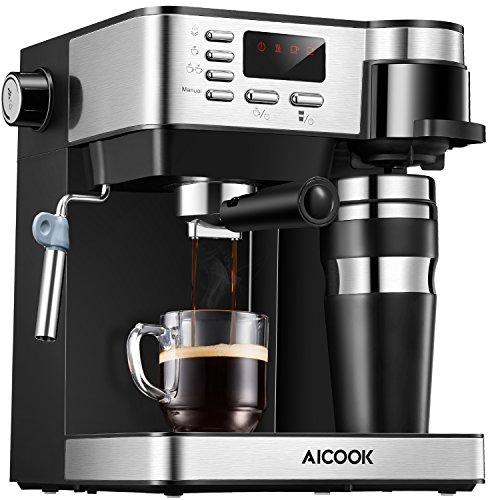 Macchina caffe Aicook, Macchina per Caffe 3 in 1(Macchina Caffe Americano Macchina Caffe Espresso da 15 bar Macchina Professionale con Montalatte), Tazza thermos in Regalo