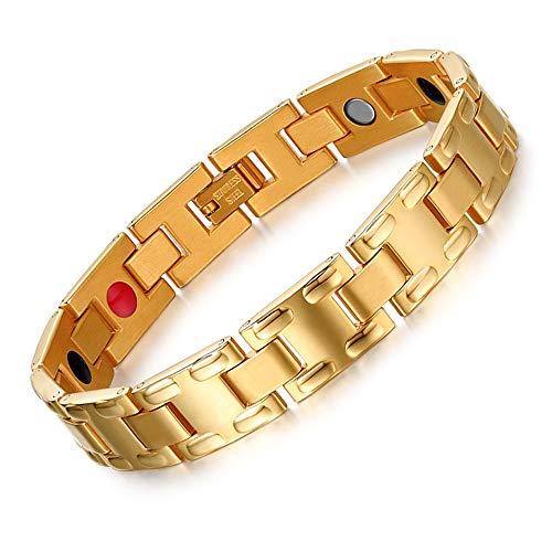 Jubuk Heren Armband Magnetische Armband Mannen Handketting Gezondheid Energie Armband Mannelijk Goud Kleur Germanium RVS Armbanden voor Mannen