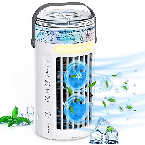 Mobile Klimageräte, Manwe 5 IN 1 Klimaanlage Mini Luftkühler Tragbare USB Verdunstungskühler Mit Wasserkühlung, Persönlich Ventilator Mit Nachtlicht, Sprühfunktion, 3 Stufen