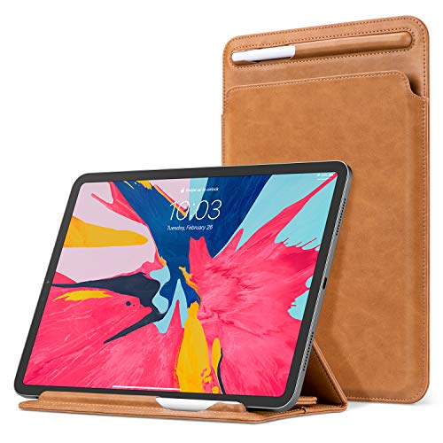 Ayotu Case for iPad Pro 11 inch/iPad Pro 10.5/iPad 10.2 inch,with Pencil Holder & Angle Viewing Microfiber Leather Sleeve Trifold Stand Bag for iPad Pro 11/iPad 7th gen/iPad Air 10.5/iPad 9.7- Brown