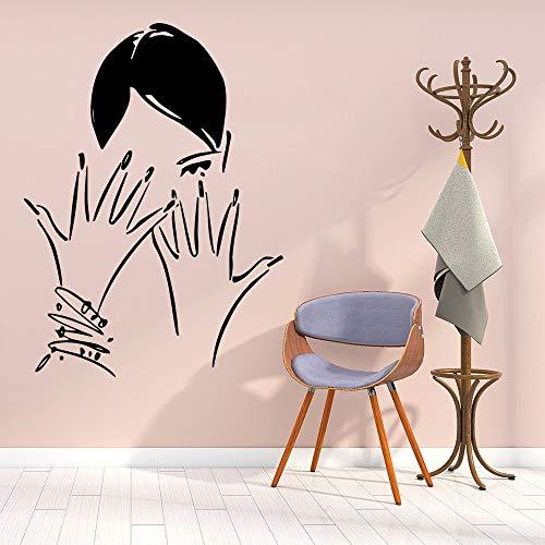 Jsnzff Moderno salón de uñas Vinilo Pared Pegatina decoración salón de Belleza Art Deco Pared calcomanía Pegatina Mural Papel Tapiz 57x77cm