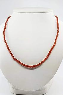 Collana corallo naturale tubetti rossi e argento