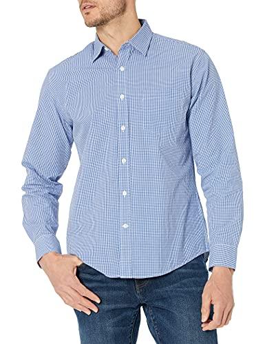 Camisa de popelina de manga larga para hombre Amazon Essentials, Cheque azul, XL