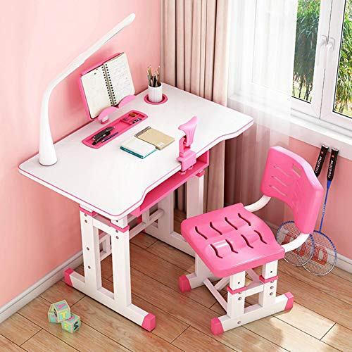 Karamoda US Fast Shipment Child Desk and Chair Set,Height Adjustable Home School Student Workstation Desk with Drawer Storage/Led Light/Reading Stand,Student Writing Tables