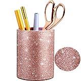 PU Glitter Portapenne Portamatite Tazza Oro Rosa Lucido per Donne Ragazze, Lusso Trucco Po...