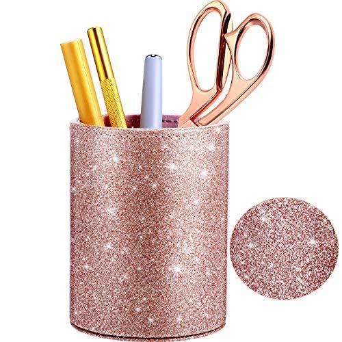 Pu Glänzend Stifthalter Bleistift Organizer Rosegold Glänzend für Frauen Mädchen, Luxus Makeup Pinsel Halter Pu Leder Veranstalter Tassen Geschenk für Schreibtisch Büro Klassenzimmer Hause