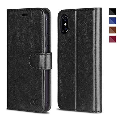 OCASE Cover iPhone X, Custodia iPhone XS Interno TPU Antiurto Portafoglio, Supporto Stand, Carta Fessura, Custodia di Pelle Case Flip per iPhone X/XS Garanzia a Vita - Nero