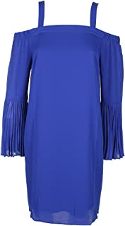 Lazulite Blue Pleated Bell-Sleeve Cold-Shoulder Shift Dress S