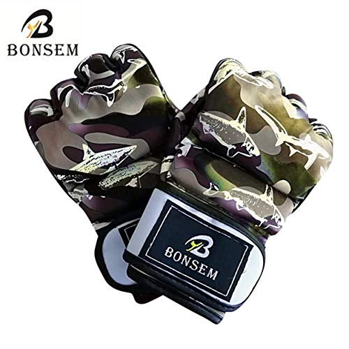 Tellaboull Camouflage MMA Boxhandschuhe Weiche PU Halbe Finger Design Grappling Boxsack Trainingshandschuhe für Erwachsene