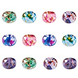 Craftdady 100Pcs Glass European Spacer Beads 12-13x9mm Slide Charm Rondelle Beads Mixed Colors Spray Painted for Snake Chain Bracelet Jewelry Making