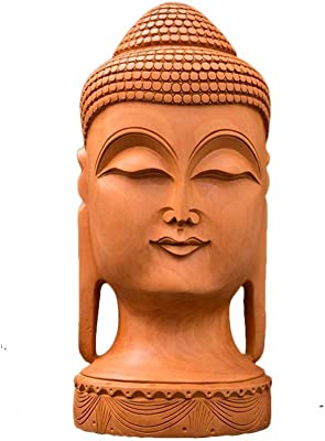 CraftedIndia Carved Wooden Buddha Face Sculpture for Home Décor