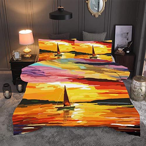 LJJYF Juego de Funda de edredón,3D Watercolor Oil Painting Bedding Set, Duvet Cover and Pillowcase, Children's Bedroom Single, Double King-P_200*230cm(3pcs)