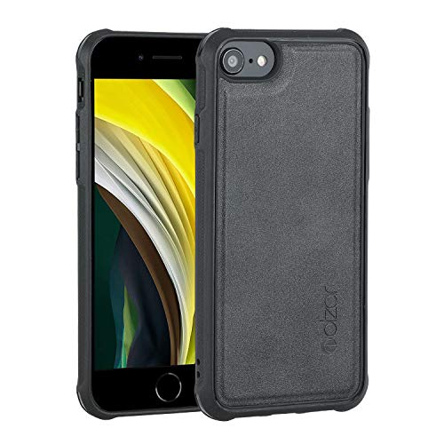Molzar MagBig Series Case for iPhone SE 2020/8/7/6s/6 with Faux Leather, Built-in Metal Plate for Magnetic Car Mount, Support Wireless Charging, Compatible with iPhone SE2/8/7/6s/6, Black