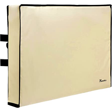 """Outdoor TV Cover 40"""", 42"""", 43"""" inch - Universal Weatherproof Protector for Flat Screen TVs - Fits Most TV Mounts and Stands - Beige"""