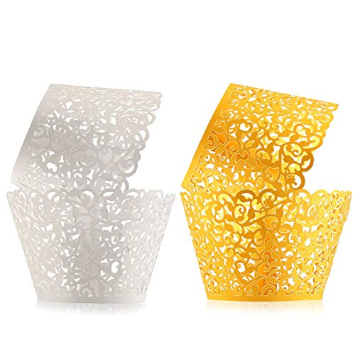 100pcs Cupcake Wrappers Filigree Artistic Bake Cake Paper Cups Little Vine Lace Laser Cupcake Liners Baking Cup Muffin Case Trays for Wedding Party Birthday Holiday Decoration Gold & White-CODDOGE