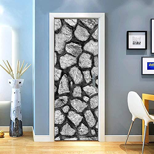 Pegatinas Puertas Decorativas 3D Patrón De Piedra Blanco Y Negro Pegatinas de Puerta Mural PVC Autoadhesivo Desmontable Impermeable Cocina Armario Baño Para Puerta Poster 77×200cm