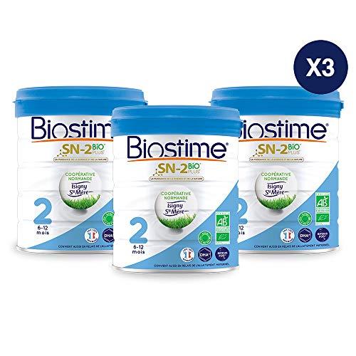 Biostime SN-2 Bio Plus - Lait infantile Bio 2ème âge en poudre de 6 à 12 mois (800g) - Lot de 3