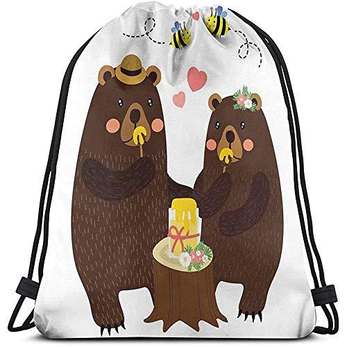 Rugzakken Zakken, Forest Party Met Grizzly Beren En Bijen Het Hebben van Plezier Liefde Eten Honing Dankbaarheid Thema, Verstelbare String Sluiting
