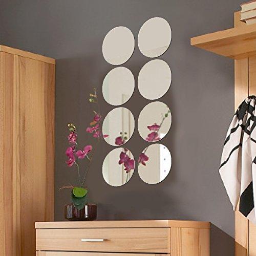 8 Stück Spiegelfliesen rund je Ø20cm Spiegelkachel Fliesenspiegel Dekospiegel Wanddekoration