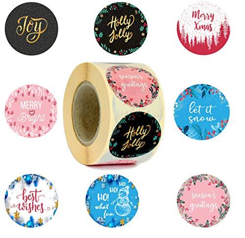 Seem Christmas Stickers 500 PCS -1.5'- 8 Elegant Design Holiday Stickers- Merry Christmas Stickers for Gifts- Merry Bright Christmas Stickers for Envelopes, Mailers, Cards
