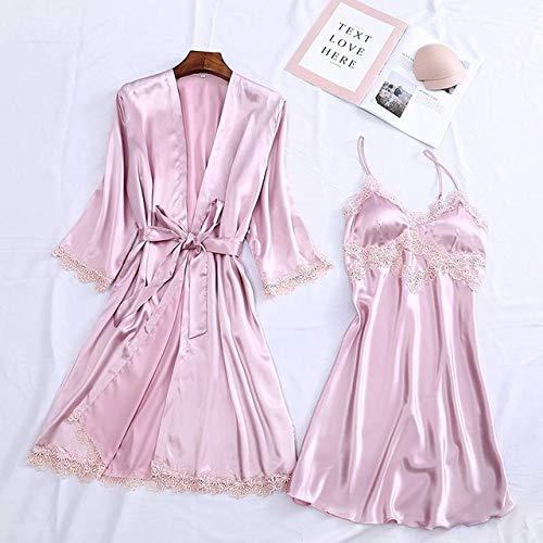 IAMZHL Albornoz Kimono para Mujer Sexy Blanco Novia Dama de Honor Conjunto de Bata de Boda Ajuste de Encaje Ropa de Dormir Ropa Casual para el hogar Ropa de Dormir-Pink Robe Set 8-2-L