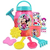 Walt Disney Studio Minnie Mouse Watering Can Set Minnie Water Toys ~ 6 Pc Minnie Mouse Beach Toy Bundle with Watering Can, Shovel, and More Plus Stickers (Minnie Mouse Water Toys)