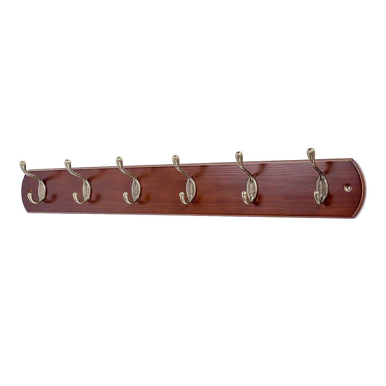 DOKEHOM アンティークゴールドフック6連(4連と6連有り) 壁掛けフック ウォールハンガー ウッドハンガー コート掛け 壁掛け収納 天然木材 ネジ取り付け (胡桃色)