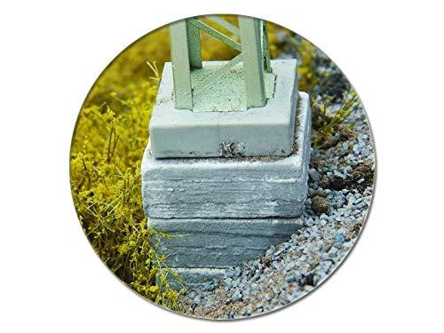 modellbahn-exklusiv Juweela 28295 - Betonsockel für Oberleitungsmasten (Ausgleichsockel) mittel, 15 Stück, Spur H0, 1:87