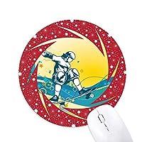 スポーツスケートボードのカラフルなイラスト 円形滑りゴムの赤のホイールパッド