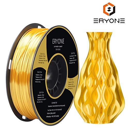 Filamento PLA 1,75 mm Oro Seta, ERYONE Filamento Setoso PLA 1,75 mm, Filamento Stampa 3D PLA per Stampante 3D e Penna 3D, 1 kg 1 Bobina