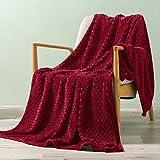 Exclusivo Mezcla Brushed Diamond Check Large Flannel Fleece Throw Blankets (Burgundy, 50' x 70')-Soft, Warm and Lightweight