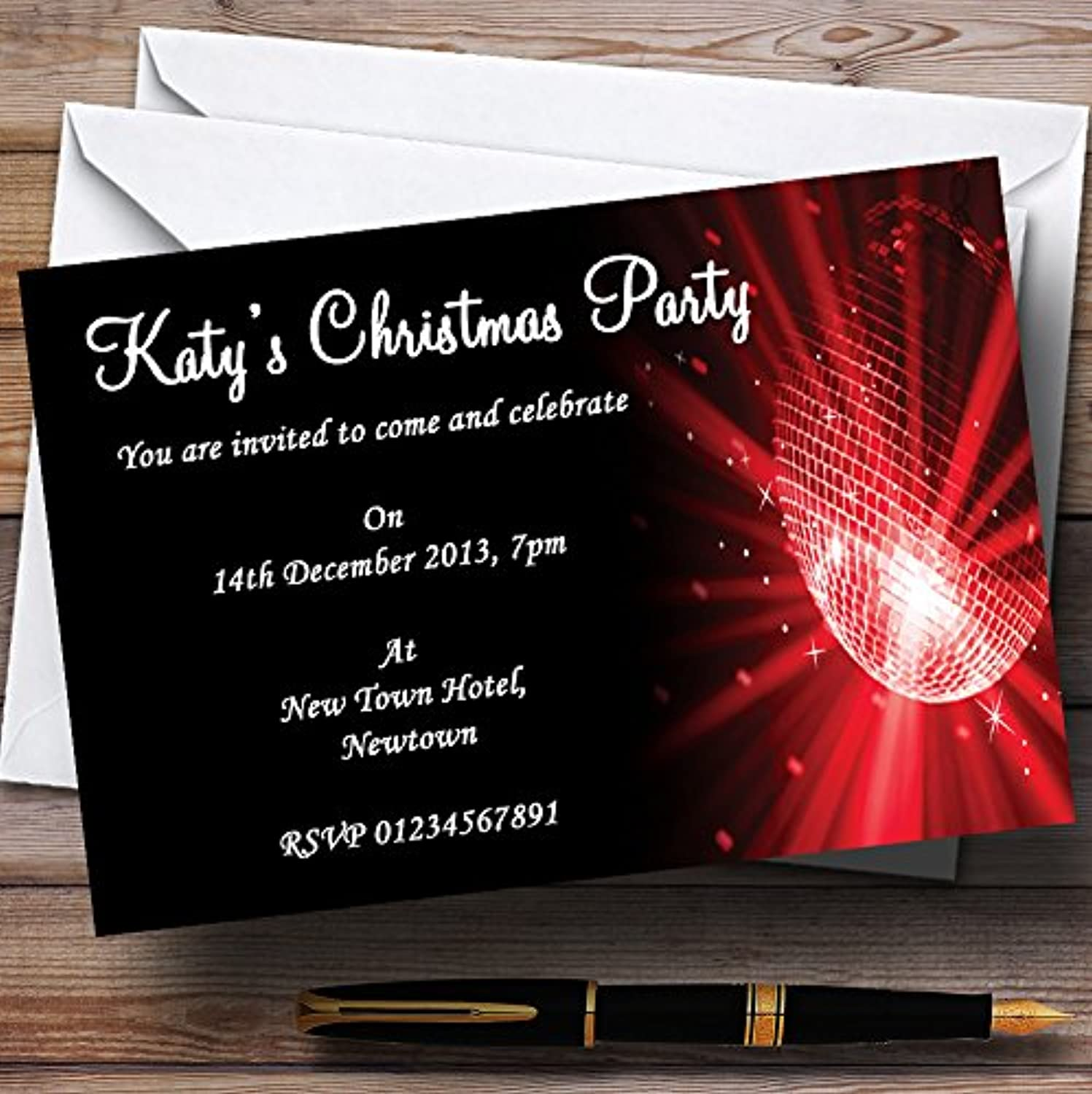 Red Disco Ball Personalised Christmas   New Year   Holiday Party Invitations   Invites & Envelopes