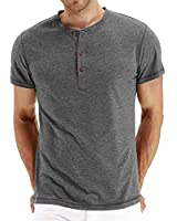 PEGENO Men's Casual Slim Fit Short Sleeve Henley T-Shirts Cotton Shirts (US X-Large, Dark Gray)