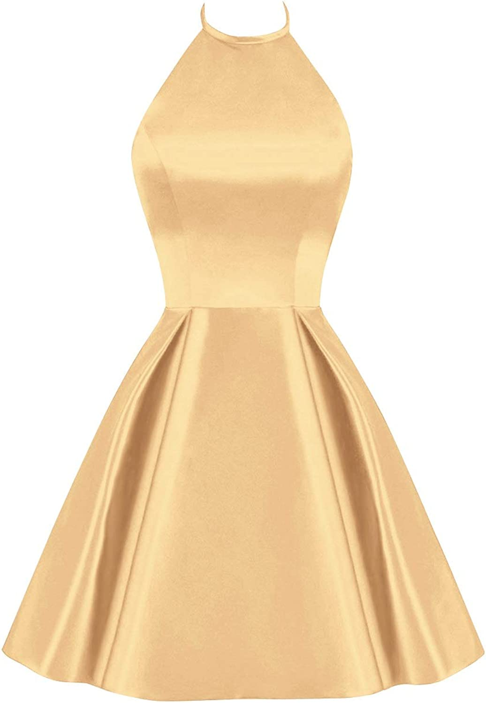 Bess Bridal Women's Halter Short Prom Dress Backless Sleeveless Homecoming Dress