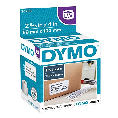 DYMO Authentic LW Standard Shipping Labels for LabelWriter Label Printers, White, 2-5/16'' x 4'', 1 roll of 300 (30256)