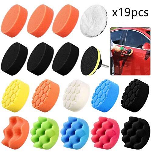 Creatwls polijstschijven, set van spons, spons en wol, voor het polijsten van wax en polijsten, set van 16 sponzen + 1 wollen bufferbeschermers + 1 boor adapter + 1 zuignappen.