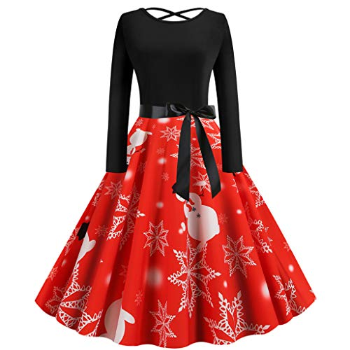 Check Out This Hopwin Women Christmas Vintage Party Dress | Ladies Long Sleeve Xmas Evening Swing Dr...