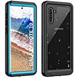 ANTSHARE Galaxy Note 10 Waterproof Case,Note 10 Case Built in Screen Protector 360°Full Body Protective Shockproof Dirtproof Sandproof IP68 Underwater Waterproof Case for Note 10(Clear Blue)
