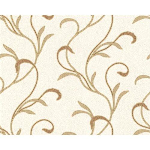 Schwere Satintapete 70 cm breit Ranken Champagner Gold glänzend