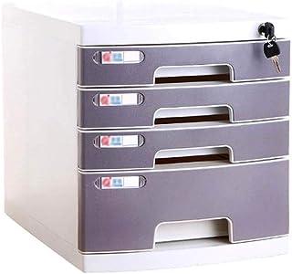 KANJJ-YU Armoire de rangement de documents à tiroirs verrouillable (plastique), 29,5 x 39,4 x 43 cm (taille : grande 4 cou...