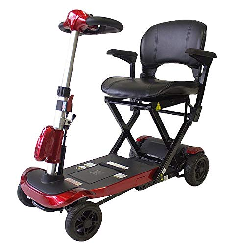 Mobiclinic, Scooter plegable para minusválidos, Eléctrico, Sistema automático con mando, Auton. 15Km, 24V, Rojo, Ulises