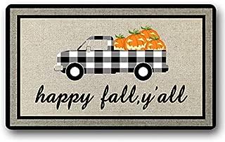 Happy Fall Yall Doormat Funny Autumn Decorations Welcome Door Mat Truck Pumpkin Decor Rug Entry Sign Funny Floor Mat Door Mat Non-Slip 30 by 18 Inch Machine Washable Indoor/Outdoor