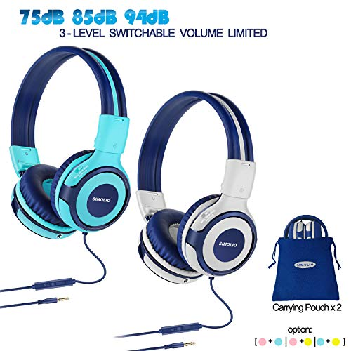2 Pack of Durable Kids Headphone with 75dB,85dB,94dB Volume Limited, Kids Friendly Headphone with Share Port, Children Headphones for School, On-Ear Kids Headphones for Girls, Boys (Mint,Grey)