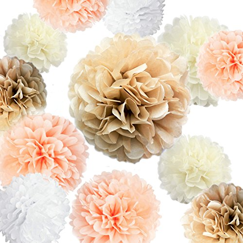 "VIDAL CRAFTS 20 Pcs Party Tissue Paper Pom Poms Set (14"", 10"", 8"", 6"" Paper Flowers) for Wedding, Birthday, Baby Shower, Bachelorette, Nursery Decor - Champagne, Peach, Ivory, White"