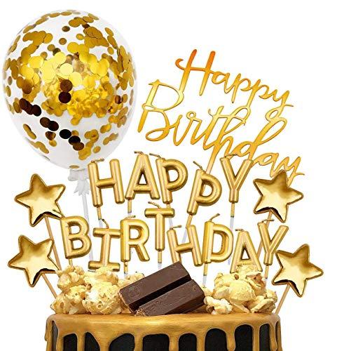 iZoeL Gold Cake Decoration Gold Happy Birthday Candles Happy Birthday Banner Confetti Balloon Stars Cake Topper for Gold Theme Party Decor Girl Kid Women Birthday Party Baby Shower Wedding