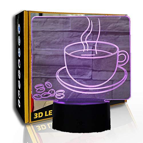 JINYI Taza de café con luz nocturna LED, lámpara visual 3D, decoración con luz de noche, C- Touch Crack Blanco (7 colores), Regalo para niña, Lámpara de escritorio