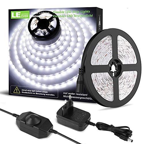 LE 5M Dimmbar LED Strip Set, Kaltweiß, 12V, Selbstklebend LED Streifen, Flexibel LED Band, LED Leiste, LED Lichtband, Netzteil und Controller enthalten