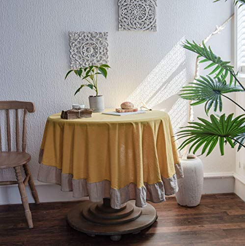 Mantel Redondo Amarillo de 150 cm de diámetro, decoración del hogar, Protege la Mesa de Centro de Mesa de Comedor de Escritorio