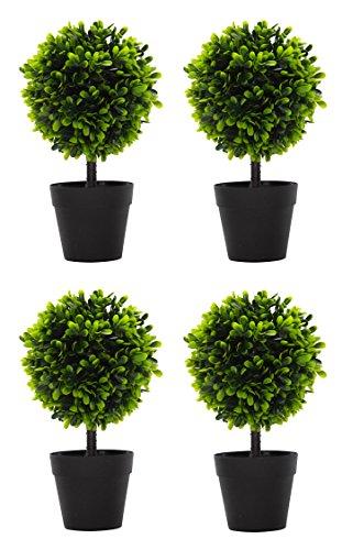 DARO DEKO Kunst-Pflanze Buchs-Baum mit Stamm 4 Stück
